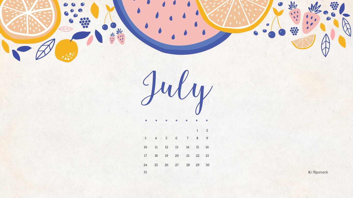 July 2016 free calendar wallpaper for your desktop background